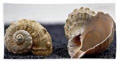 Seashells On Black Sand Hand Towel