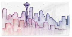 Seattle Skyline Watercolor Hand Towel