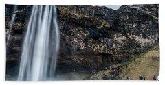 Bath Towel featuring the photograph Seljalandsfoss Waterfalls View In Winter, Iceland by Pradeep Raja PRINTS