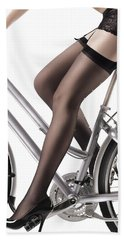 Sexy Woman Riding A Bike Hand Towel