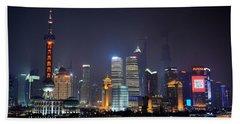 Shanghai China Skyline At Night From Bund Hand Towel
