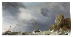 Ships In A Gale Hand Towel