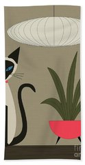 Siamese Cat On Tabletop Hand Towel