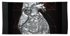 Silver Human Heart On Black Canvas Bath Towel by Serge Averbukh