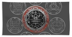 Silver Seal Of Solomon Over Seven Pentacles Of Saturn On Black Canvas  Hand Towel