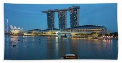 Singapore Harbour Hand Towel by Jocelyn Kahawai