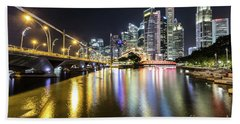 Singapore River At Night With Financial District In Singapore Hand Towel
