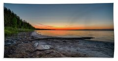 Hand Towel featuring the photograph Skeleton Lake Beach At Sunset by Darcy Michaelchuk