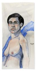 Hand Towel featuring the painting Sketch For Gabrielle by Ray Agius