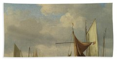 Small Dutch Vessels Aground At Low Water In A Calm Hand Towel