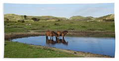 Small Lake With Wild Horses Hand Towel
