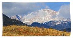 Snow Capped Pikes Peak Colorado Bath Towel