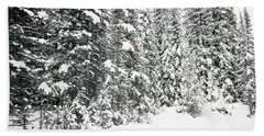 Snow In The Trees Bath Towel