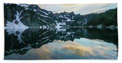 Snow Lake Chair Peak Dusk Reflection Hand Towel by Mike Reid
