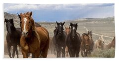 Sombrero Ranch Horse Drive, An Annual Event In Maybell, Colorado Hand Towel