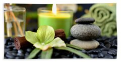 Spa Rocks And Candles Hand Towel by Serena King