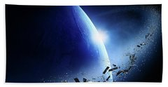 Space Junk Orbiting Earth Bath Towel