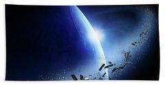 Space Junk Orbiting Earth Hand Towel