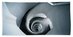 Hand Towel featuring the photograph Spiral Staircase In Blue Tones by Jaroslaw Blaminsky