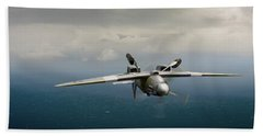 Bath Towel featuring the photograph Spitfire Pr Xix Ps915 Inverted by Gary Eason