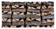 Split And Stacked Firewood Hand Towel