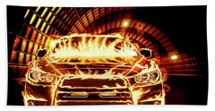 Sports Car In Flames Hand Towel