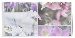 Bath Towel featuring the photograph Spring Flower Collage. Shabby Chic Collection by Jenny Rainbow