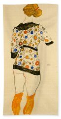 Standing Woman In A Patterned Blouse Hand Towel