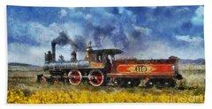 Steam Locomotive Bath Towel by Ian Mitchell