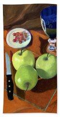 Still Life With Apples Bath Towel by Karyn Robinson