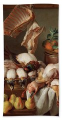 Still Life With Dressed Game, Meat And Fruit Hand Towel