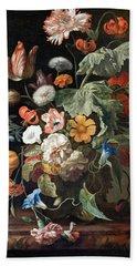 Still-life With Flowers Bath Towel by Rachel Ruysch