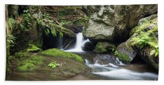 Hand Towel featuring the photograph Stone Guardian Of The Waterfalls - Bizarre Boulder On The Bank by Michal Boubin