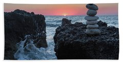 Stone Tower By The Beach Bath Towel
