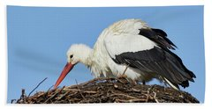Bath Towel featuring the photograph Stork On A Nest by Nick Biemans