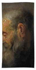 Study Of An Old Man In Profile Bath Towel