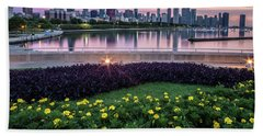 summer flowers and Chicago skyline Bath Towel