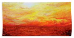 Bath Towel featuring the painting Sunburst by Teresa Wegrzyn