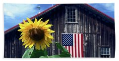 Sunflower By Barn Bath Towel by Sally Weigand