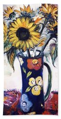 Hand Towel featuring the painting Sunflowers by Mikhail Zarovny