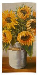 Hand Towel featuring the painting Sunflowers by Nina Mitkova