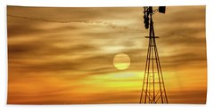 Hand Towel featuring the photograph Sunset And Windmill by Rob Graham