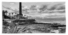 Bath Towel featuring the photograph Sunset At Chipiona Lighthouse Cadiz Spain by Pablo Avanzini