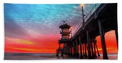 Sunset At Huntington Beach Pier Hand Towel