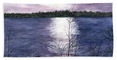 Bath Towel featuring the painting Sunset At Niagara River New York by Melly Terpening