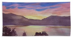 Bath Towel featuring the painting Sunset At Woodhead Campground by Joel Deutsch