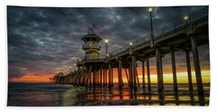 Sunset Huntington Beach Pier  Hand Towel
