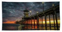 Sunset Huntington Beach Pier  Bath Towel
