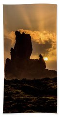 Sunset Over Cliffside Landscape Hand Towel