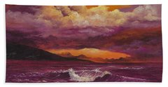 Hand Towel featuring the painting Sunset Over Lanai by Darice Machel McGuire